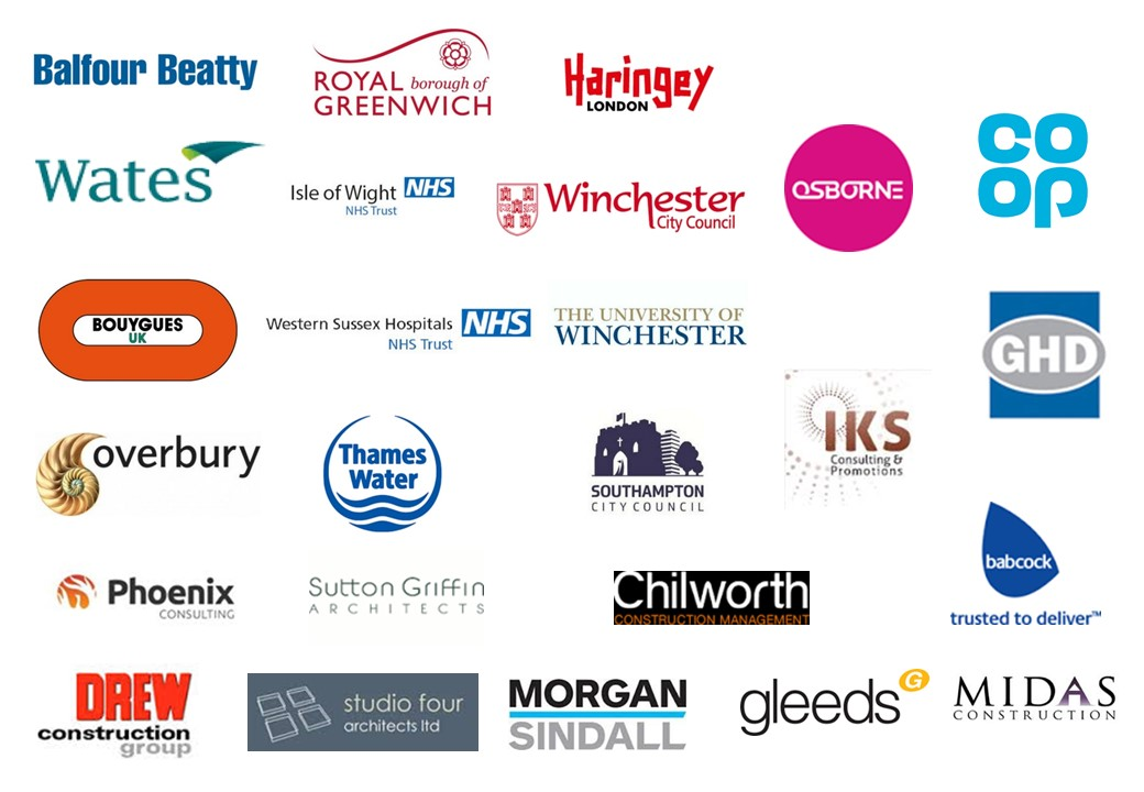 coop, midas, buoygues, sutton griffin, babcock, southampton city council , royal borough of greenwich, IOW NHS trust, Southern Water, IKS, Haringey Council, Balfour Beatty, Chilworth Construction Management, Morgan Sindall, Gleeds, MDBR, Overbury, Osborne, University of Winchester