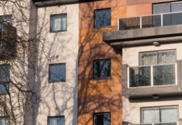 block of flats with cladding